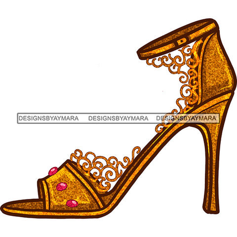 Stepping On Fire Gold Lace High Heels Shoes JPG PNG  Clipart Cricut Silhouette Cut Cutting