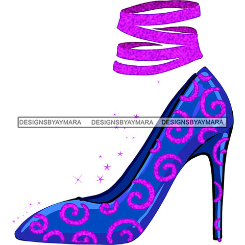 Stepping Into Birthday  Blue Purple High Heels Shoes Only JPG PNG  Clipart Cricut Silhouette Cut Cutting