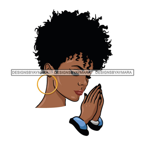 Afro Beautiful Black Woman Praying Melanin Queen SVG Cutting Files For Silhouette Cricut and More