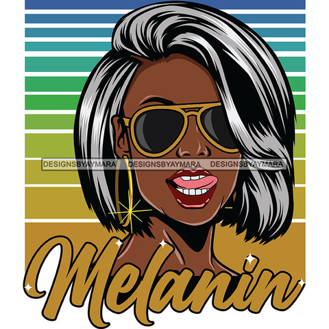 Melanin Queen Mixed Gray Hair SVG JPG PNG Vector Clipart Cricut Silhouette Cut Cutting1