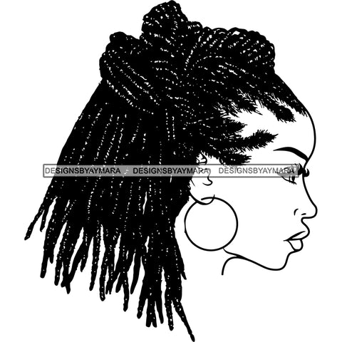 Melanin Queen Locs Sister Locs In  BW SVG JPG PNG Vector Clipart Cricut Silhouette Cut Cutting1