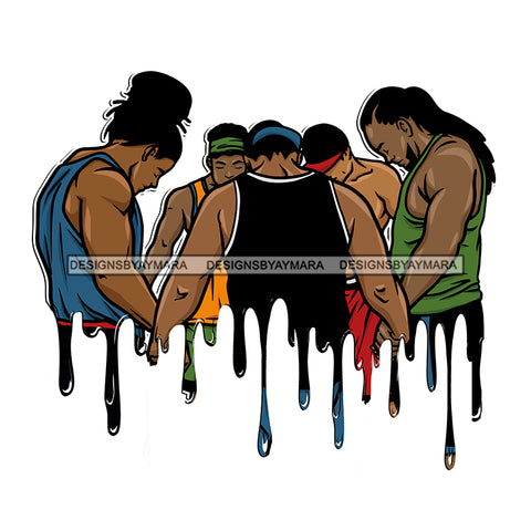 Dripping Black Men Brothers Praying Together  JPG PNG  Clipart Cricut Silhouette Cut Cutting
