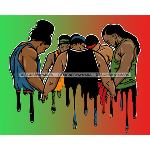 Dripping Black Men Brothers Praying Together Green And Red Background  JPG PNG  Clipart Cricut Silhouette Cut Cutting