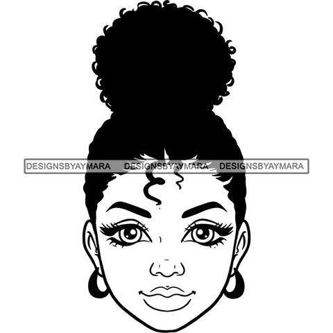 Black Woman Afro Bun In BW SVG JPG PNG Vector Clipart Cricut Silhouette Cut Cutting1