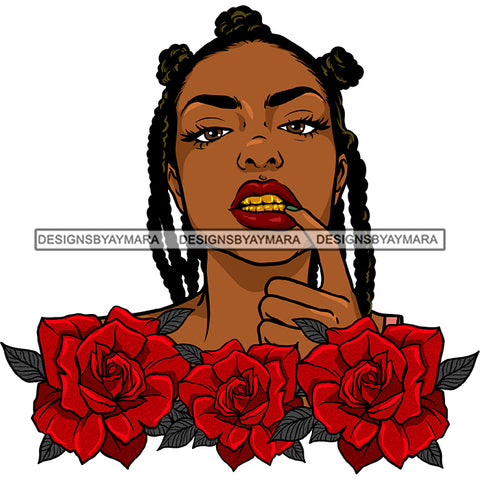 Gangster Gangsta Afro Black Woman With Red Rose Braids Braided Hair JPG PNG  Clipart Cricut Silhouette Cut Cutting