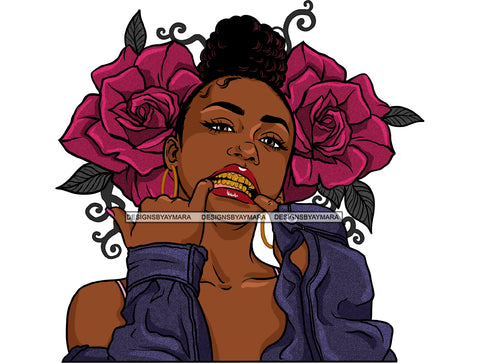 Gangster Gangsta Afro Black Woman With Purple Roses Hair Bun JPG PNG  Clipart Cricut Silhouette Cut Cutting