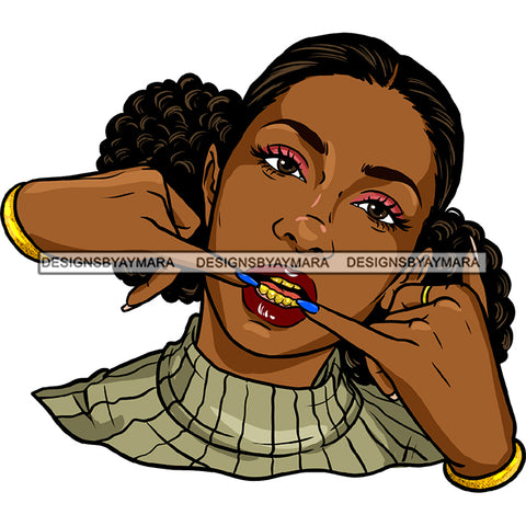 Gangster Gangsta Afro Black Woman Afro Puffs  Sweater   JPG PNG  Clipart Cricut Silhouette Cut Cutting