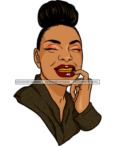 Afro Black Woman Hair Bun Red Lips Smiling Gold Teeth JPG PNG  Clipart Cricut Silhouette Cut Cutting