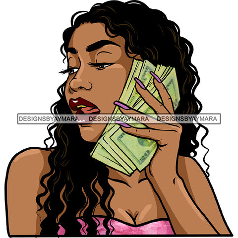 Afro Black Woman Long Hair Cash Dollar Bills Holding Money JPG PNG  Clipart Cricut Silhouette Cut Cutting