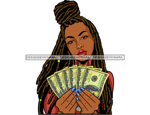 Afro Black Woman Long Locs Dreads Cash Dollar Bills Holding Money JPG PNG  Clipart Cricut Silhouette Cut Cutting