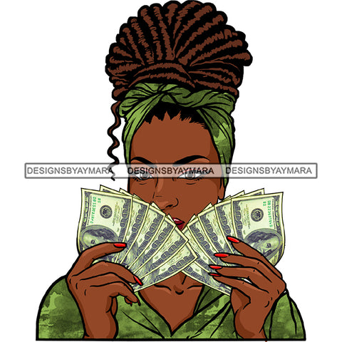 Afro Black Woman With Locs Dreads Green Headwrap JPG PNG  Clipart Cricut Silhouette Cut Cutting