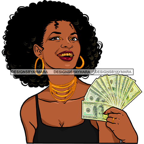 Afro Black Woman With Curly Hair Holding Dollar Bills Cash Gold Teeth JPG PNG  Clipart Cricut Silhouette Cut Cutting