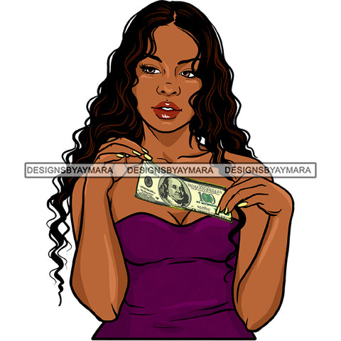 Afro Black Woman With Long Hair Holding Dollar Bills Cash  JPG PNG  Clipart Cricut Silhouette Cut Cutting