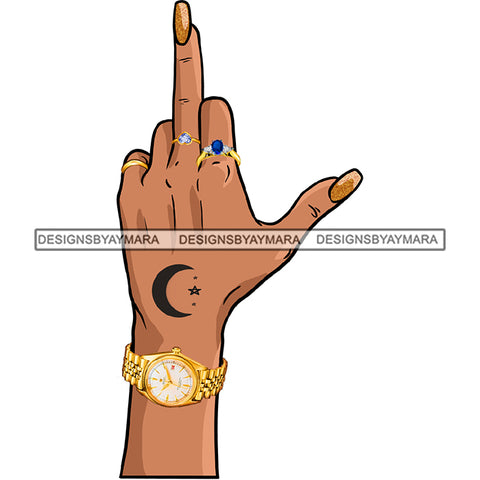 Afro Black Woman Finger Middle Finger F*** Tattoos Rings  Gold Watch Single Hand  JPG PNG  Clipart Cricut Silhouette Cut Cutting