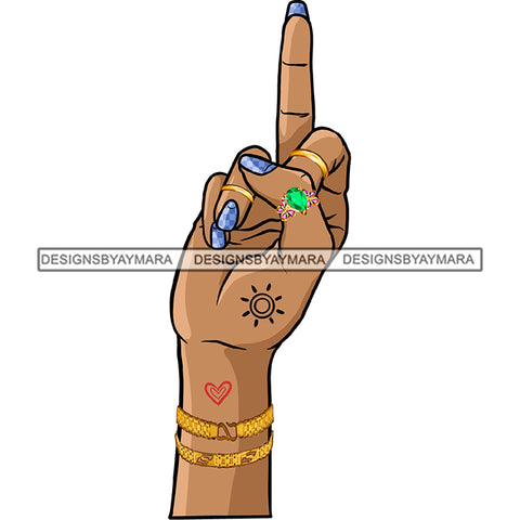 Afro Black Woman Finger Middle Finger F*** Tattoos Rings  Gold Bracelet Single Hand  JPG PNG  Clipart Cricut Silhouette Cut Cutting