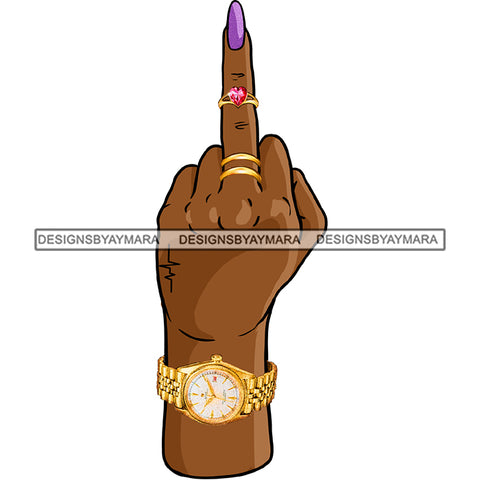 Black Finger Middle Finger F*** Purple Fingernail Tattoos Rings  Gold Watch Single Hand  JPG PNG  Clipart Cricut Silhouette Cut Cutting