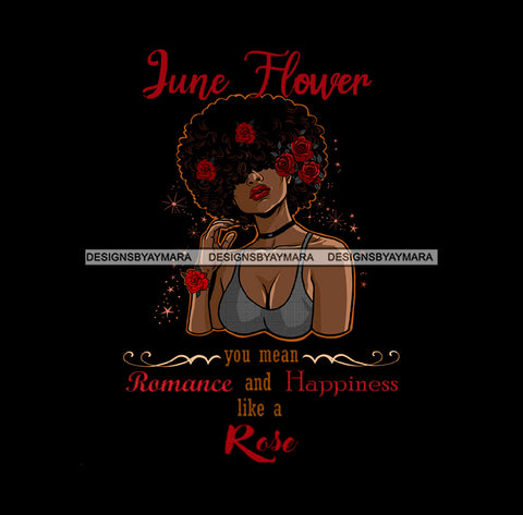June Flower Ladies Lady Afro Hair Black Afro Woman Red Roses JPG PNG  Clipart Cricut Silhouette Cut Cutting