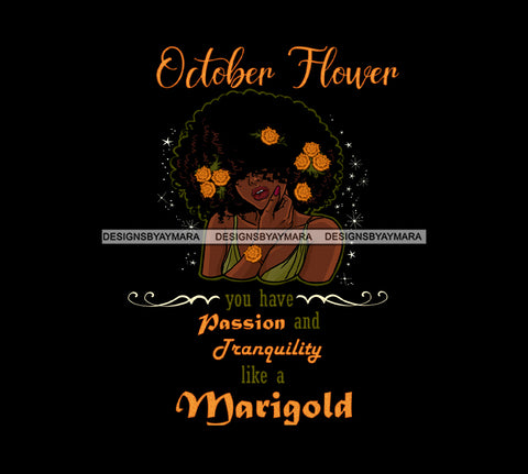 October Flower Ladies Lady Afro Hair Black Afro Woman Big Afro Marigold Flowers JPG PNG  Clipart Cricut Silhouette Cut Cutting
