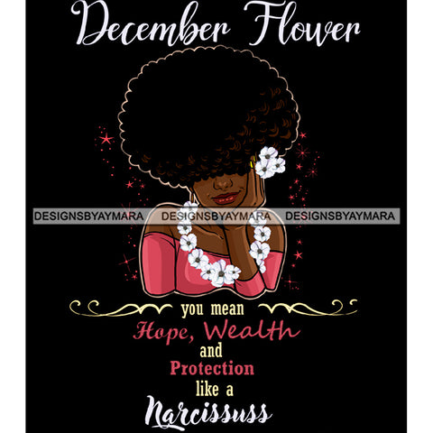 December Flower Ladies Lady Afro Hair Black Afro Woman Big Afro Flowers JPG PNG  Clipart Cricut Silhouette Cut Cutting
