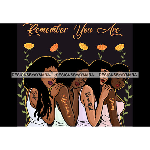 Remember You Are Ladies Lady Afro Black White Woman  JPG PNG  Clipart Cricut Silhouette Cut Cutting