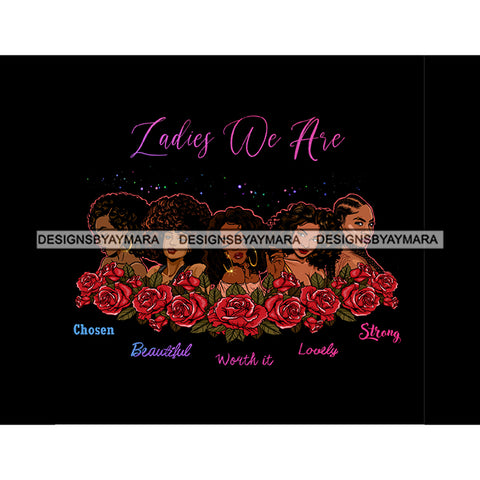 Ladies We Are Lady Afro Black Woman Red Roses Flowers JPG PNG  Clipart Cricut Silhouette Cut Cutting