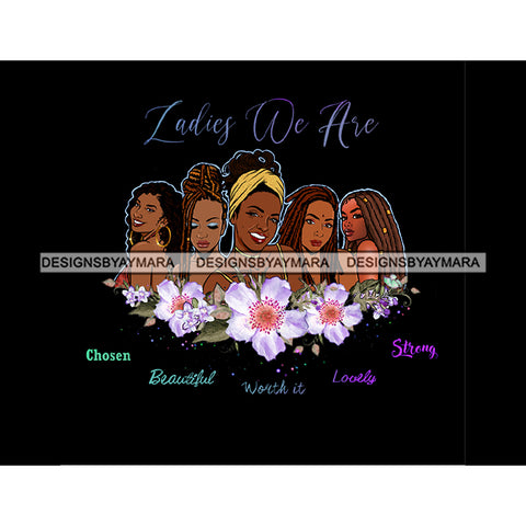 Ladies We Are Lady Afro Black Woman White Flowers Headwrap JPG PNG  Clipart Cricut Silhouette Cut Cutting