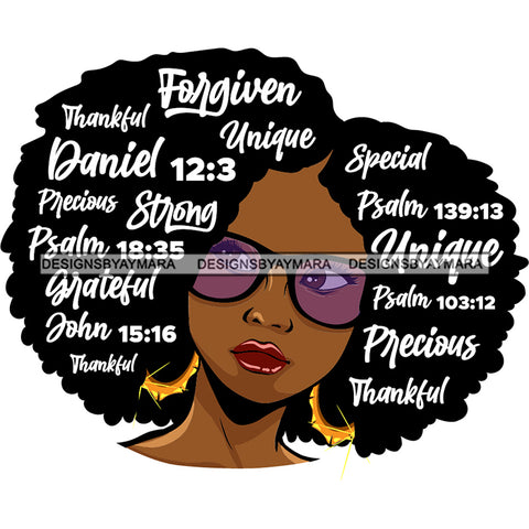 Afro Lola Forgiven Strong Special Unique Black Girl Magic Melanin Popping Hipster Girl SVG JPG PNG Layered Cutting Files For Silhouette Cricut and More