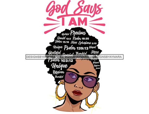 Afro Lola God Says I'M Forgiven Strong Special Unique Black Girl Magic Melanin Popping Hipster Girl SVG JPG PNG Layered Cutting Files For Silhouette Cricut and More