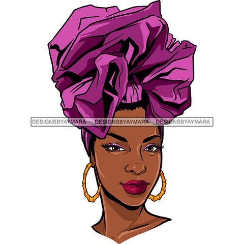 Black Queen With Beautiful Purple Headwrap JPG PNG  Clipart Cricut Silhouette Cut Cutting