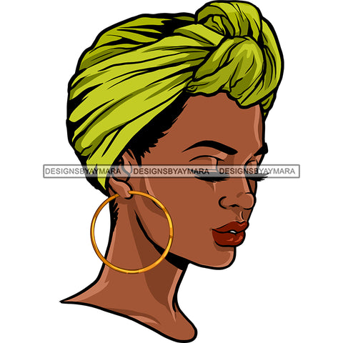 Black Queen With Beautiful Green Headwrap JPG PNG  Clipart Cricut Silhouette Cut Cutting