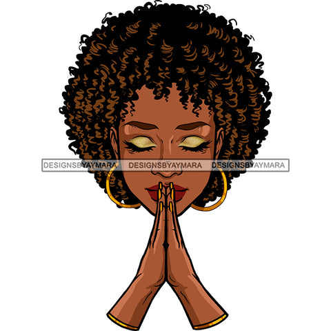 Black Queen In Prayer Praying JPG PNG  Clipart Cricut Silhouette Cut Cutting