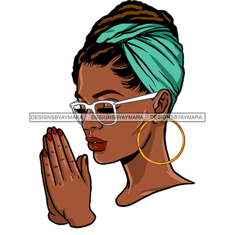 Black Queen With Locs And Green Headwrap Praying JPG PNG  Clipart Cricut Silhouette Cut Cutting