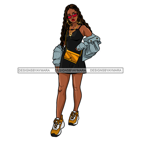 Black Diva In Dress And Jean Jacket JPG PNG  Clipart Cricut Silhouette Cut Cutting