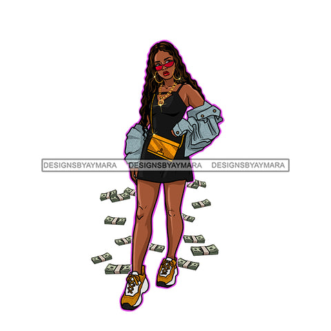 Black Diva Dropping Money In Jean Jacket JPG PNG  Clipart Cricut Silhouette Cut Cutting