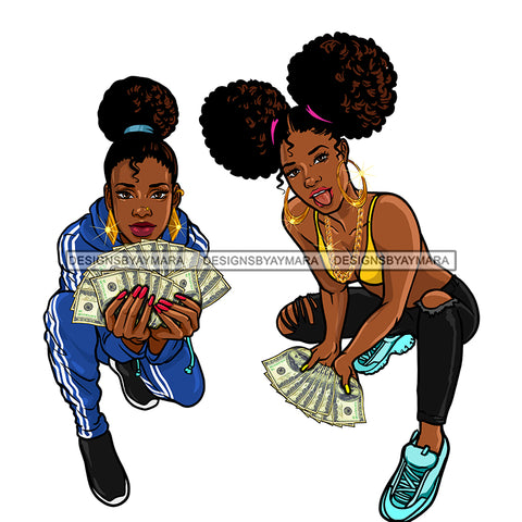 2 Sista's Kneeling Fanning Money Dollar Bills JPG PNG  Clipart Cricut Silhouette Cut Cutting