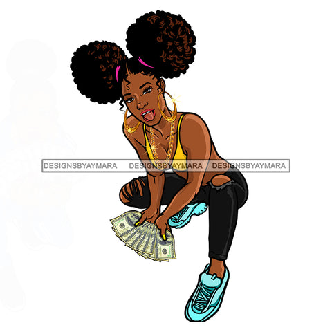 Sista Kneeling Fanning Money Dollar Bills JPG PNG  Clipart Cricut Silhouette Cut Cutting