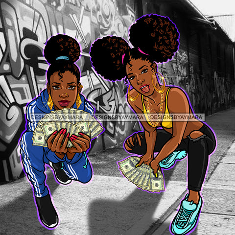 2 Sista's Kneeling Fanning Money Dollar Bills Graffiti Wall JPG PNG  Clipart Cricut Silhouette Cut Cutting