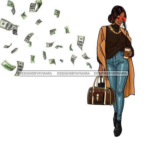 Sassy Queen Stepping With Flying Money Dollar Bills JPG PNG  Clipart Cricut Silhouette Cut Cutting
