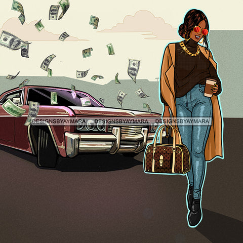 Sassy Queen Stepping With Her Coffee Flying Dollars On Car JPG PNG  Clipart Cricut Silhouette Cut Cutting