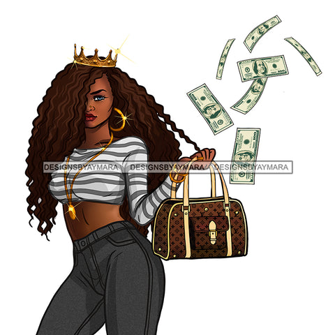 Sassy Queen Stepping Wearing Crown Tossing Dollars JPG PNG  Clipart Cricut Silhouette Cut Cutting