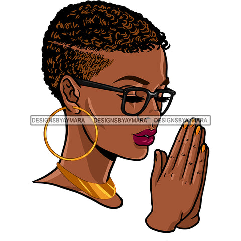 Black Queen With Short Afro Praying JPG PNG  Clipart Cricut Silhouette Cut Cutting