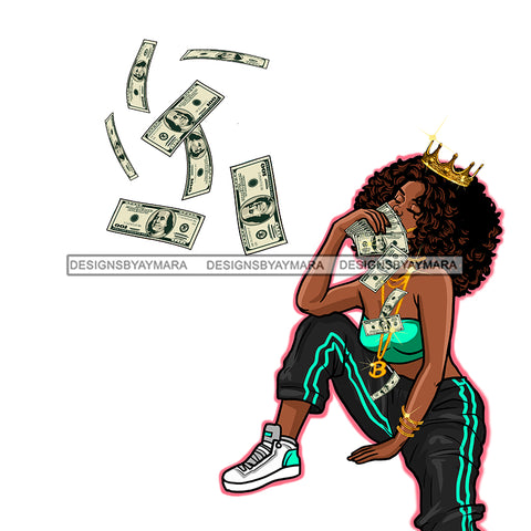 Sassy Diva Wearing Crown Tossing Dollar Bills  JPG PNG  Clipart Cricut Silhouette Cut Cutting