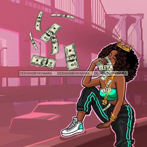 Crowned Sassy Diva In Green And Black Tossing Dollar Bills  JPG PNG  Clipart Cricut Silhouette Cut Cutting