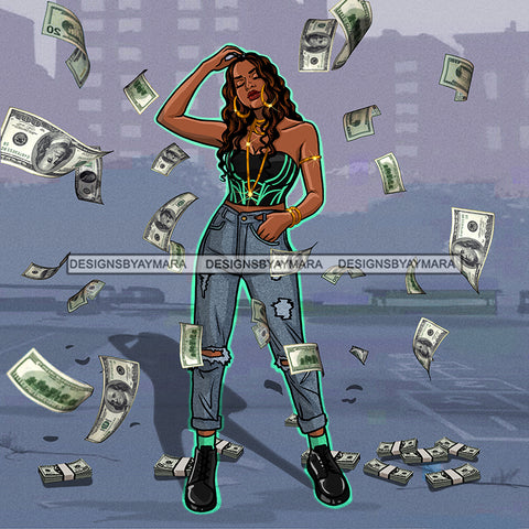 Sassy Diva With Tossed Dollar Bills In Jeans JPG PNG  Clipart Cricut Silhouette Cut Cutting