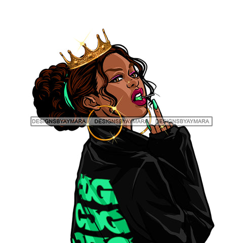Crowned Diva Giving The Finger JPG PNG  Clipart Cricut Silhouette Cut Cutting