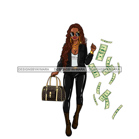 Sassy Diva Stepping In Black Flying Dollar Bills JPG PNG  Clipart Cricut Silhouette Cut Cutting