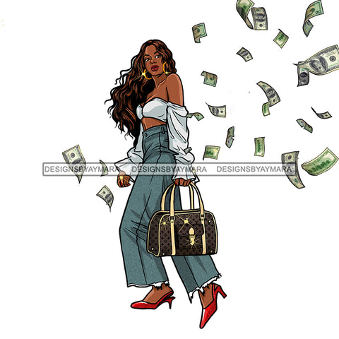 Sassy Diva In Jeans Flying Dollar Bills  JPG PNG  Clipart Cricut Silhouette Cut Cutting