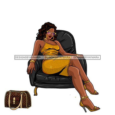Plus Size Diva In Gold Dress Gold Heels Black Chair JPG PNG  Clipart Cricut Silhouette Cut Cutting