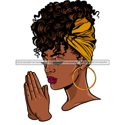 Black Queen With Curly Hair Praying Yellow Headwrap JPG PNG  Clipart Cricut Silhouette Cut Cutting