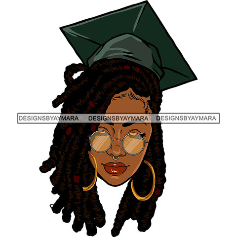 Afro Woman Graduate Wearing Cap Academic Achievement Diploma Graduation Dreadlocks Hairstyle SVG JPG PNG Cutting Files For Silhouette Cricut More